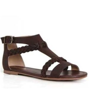 Soda Shoes Cercie Braided Sandals Dk Brown 6 NEW